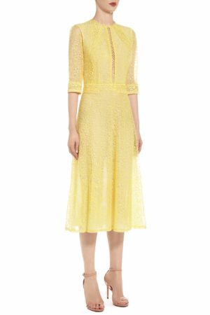 SS2064 Stephana yellow embroidered eyelet keyhole neckline dress