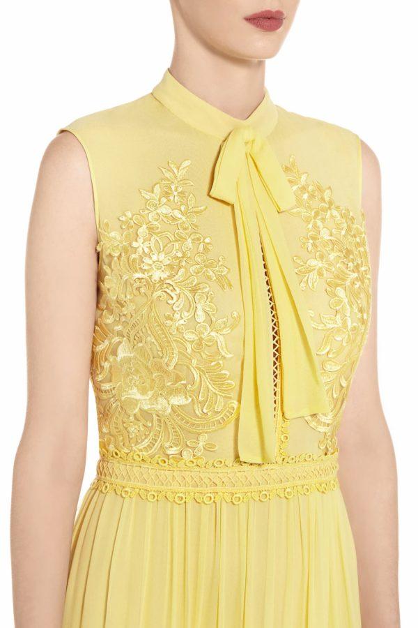 SS2015 Rachela yellow tiered silk chiffon dress with neck-ties and ruffle detail
