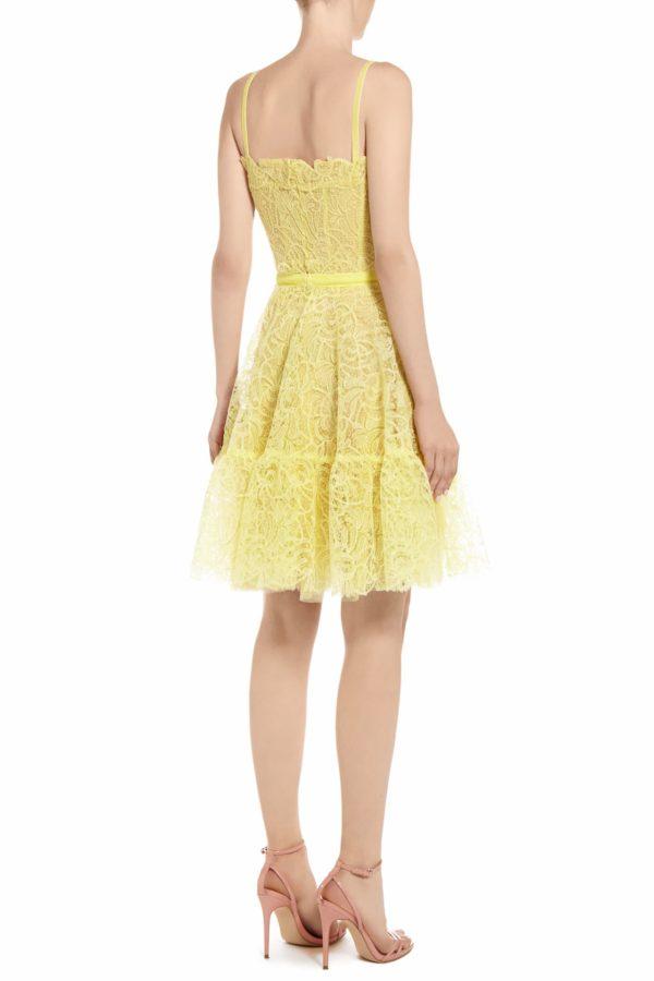 SS2075 Lellie yellow Gossamer lace mini dress with bustier bodice