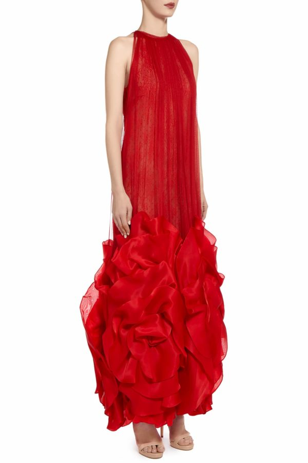 SS2095 Dasia red silk tulle cape dress with Chantilly lace and silk organza rosette