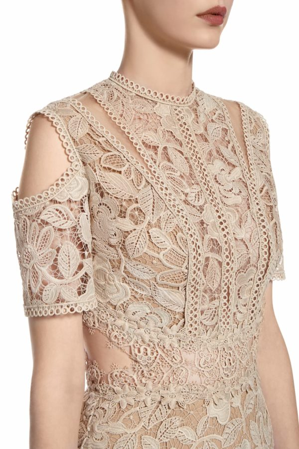SS2069 Stasa beige guipure lace cold-shoulder handkerchief dress with cut-outs