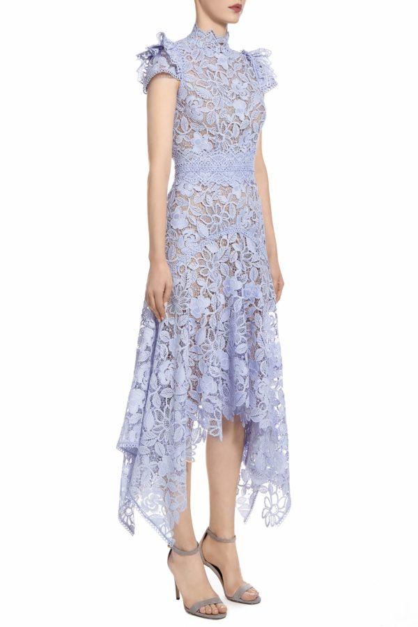 SS2068 KImberissa blue guipure lace short-sleeve handkerchief dress