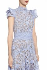 SS2068 KImberissa blue guipure lace short-sleeve handkerchief dress