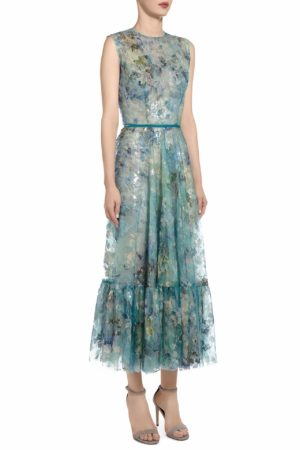SS2053 Andrie sequin French tulle A-line dress with flounce hem