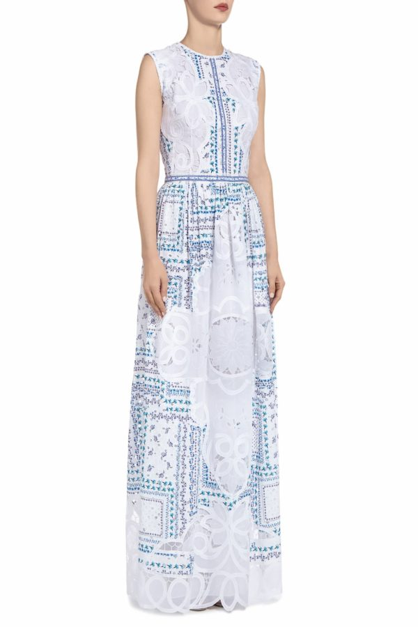 SS2037 Danla white cotton broderie anglaise maxi dress with blue printed flowers