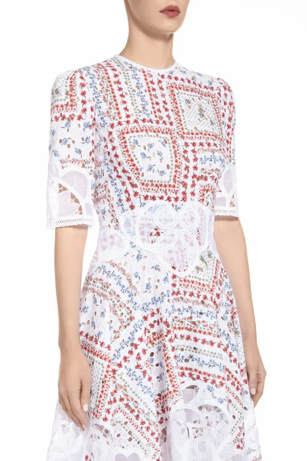 SS2036 Macey white cotton broderie anglaise handkerchief dress with red printed flowers