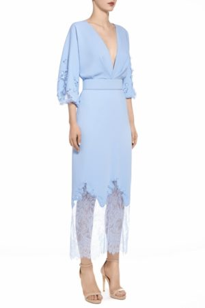 SS2026 Tira blue crepe blouson dress with chantilly lace and flower appliques