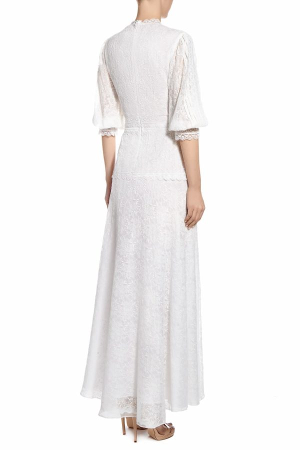 SS2090 Kenica embroidered silk chiffon A-line dress with covered buttons