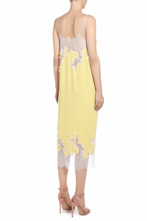 SS2023 Ercie yellow crepe and chantilly lace button-front camisole dress with flower appliques