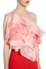 SS2093 Samia pink silk organza illusion one-shoulder frill blouse