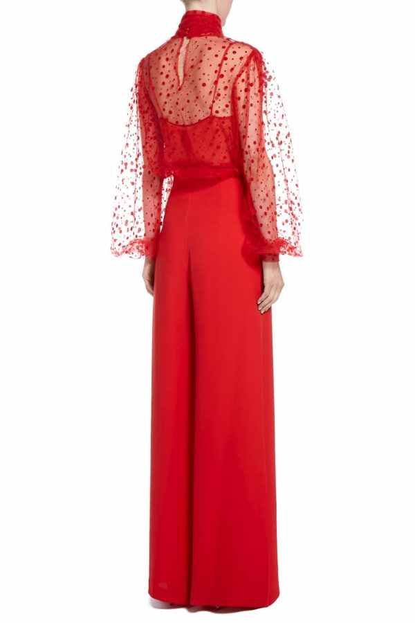 SS2058 Renie red flocked polka dot pussybow tulle bouse