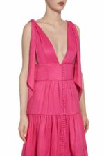 SS2046 Isia fuchsia tiered linen gown with bow-tie straps