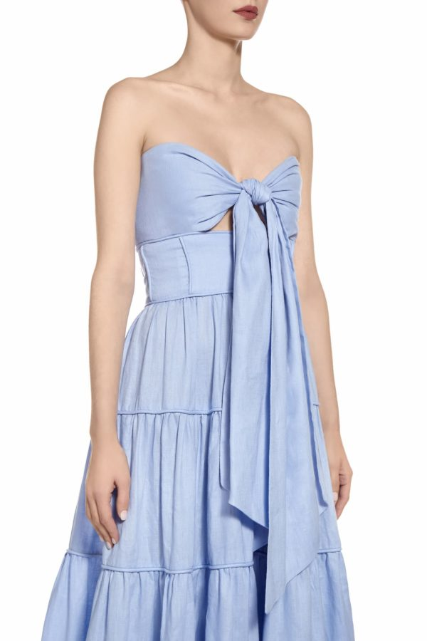 SS2047 Sielle blue strapless tiered linen gown with tie-front and cut-outs