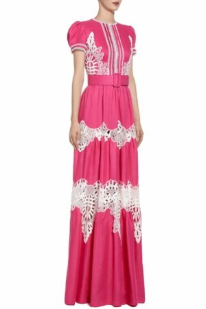 SS2080 Peria fuchsia linen gown with broderie anglaise details