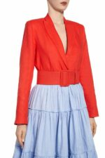 SS2043 Saranthia red linen tailored blazer with matching belt