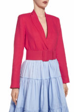 SS2043 Saranthia fuchsia tailored blazer with matching belt
