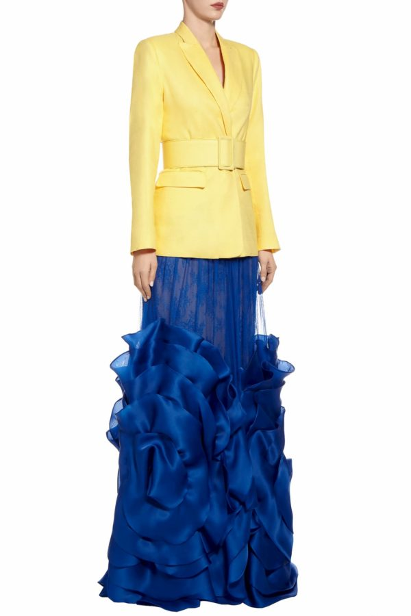 SS2096 Saria blue silk tulle skirt with Chantilly lace and silk organza rosette