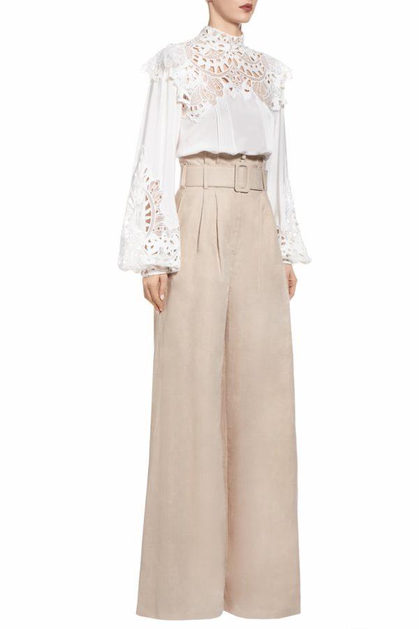 SS2041 Pamelle beige linen paperbag pants with belt
