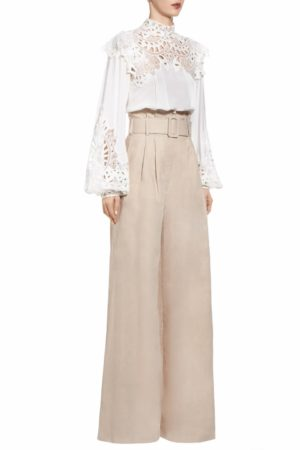 SS2041 Pamelle beige linen paperbag pants with belt