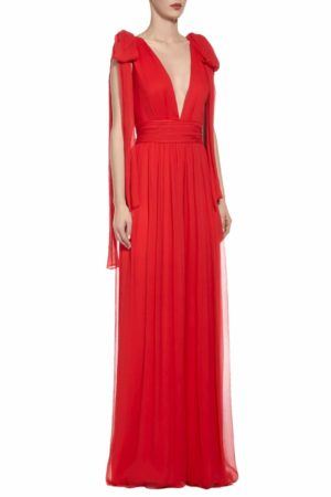 SS2016 Wendelle red crinkled silk chiffon jumpsuit with plunging neckline and bow-tie straps