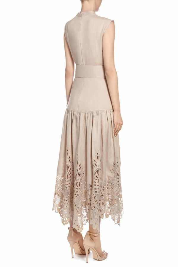SS2081 Perison neutral linen dropped waist dress with broderie anglaise hem