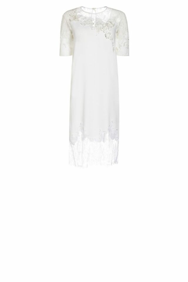 SS2021 Wendria white Crepe Shift Dress with Chantilly Lace and flower appliques