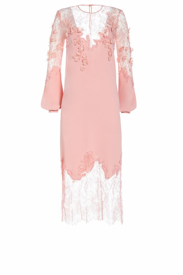 SS2022 Crystalie pink crepe and chatilly lace midi dress with flower appliques