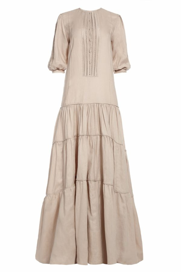 SS2045 Cynthie neutral beige linen caftan dress with pleated details and tiered skirt