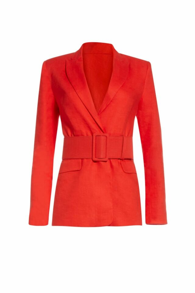 SS2043 Saranthia red linen tailored blazer