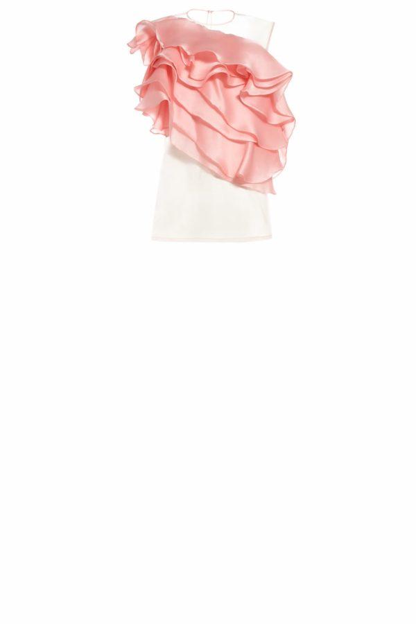 SS2093 Samia pink silk organza frill top