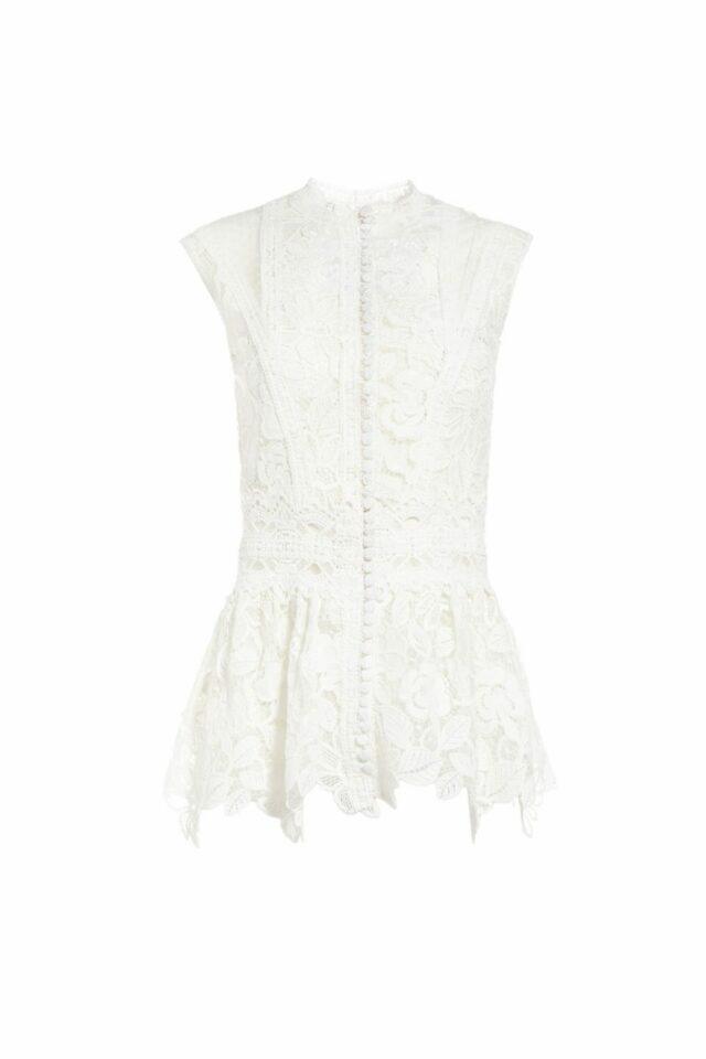 SS2066 Tonnie Guipure Lace Peplum Blouse white