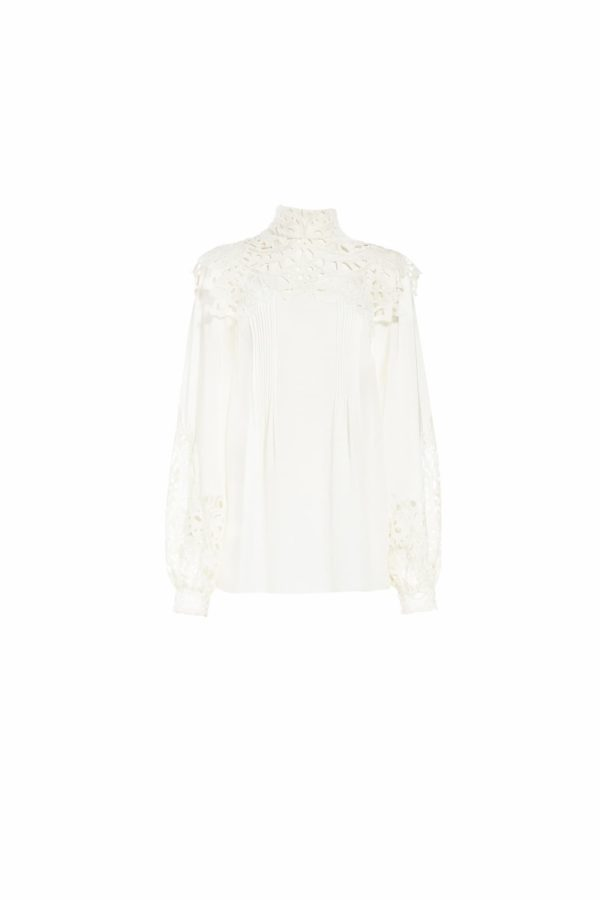 SS2082 Rilella white linen high-neck blouse with broderie anglaise