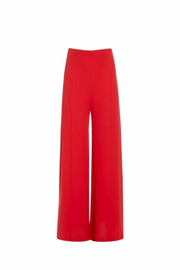 SS2025 Tiffa red crepe palazzo pants