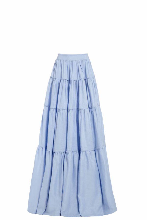 SS2044 Jesra blue linen tiered maxi skirt