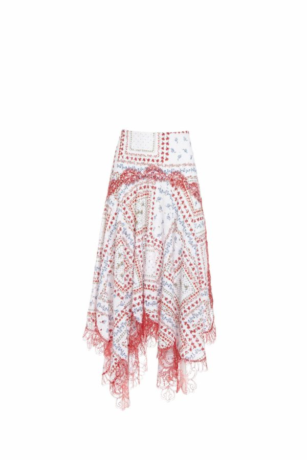 Stassie SS2039 white printed broderie anglaise cotton handkerchief skirt with gossamer lace