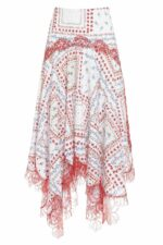 SS2039 Stassie printed cotton broderie anglaise handkercihef skirt with gossamer lace