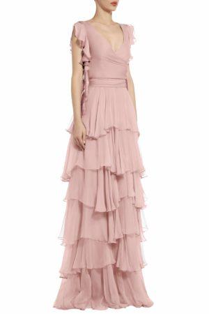 ps2062 julinda silk chiffon tiered ruffle gown pink