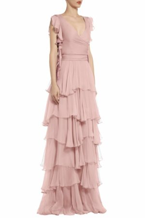 ps2062 julinda silk chiffon tiered ruffle gown pink