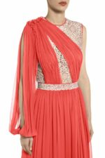 ps2050 Chrisly draped silk chiffon dress with floral cordone lace