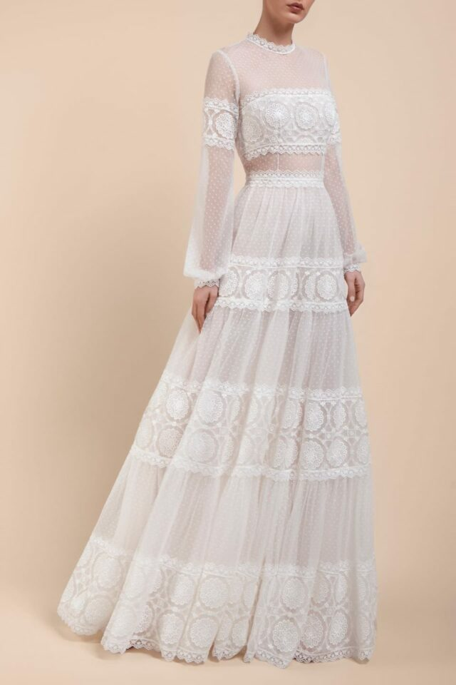 BC2106 Ismene boho mock-neck bridal gown with long sleeves and embroidered trims