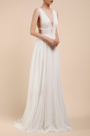 BC2107 Artemisia silk chiffon grecian draped bridal gown with caged bodice & gossamer lace trims