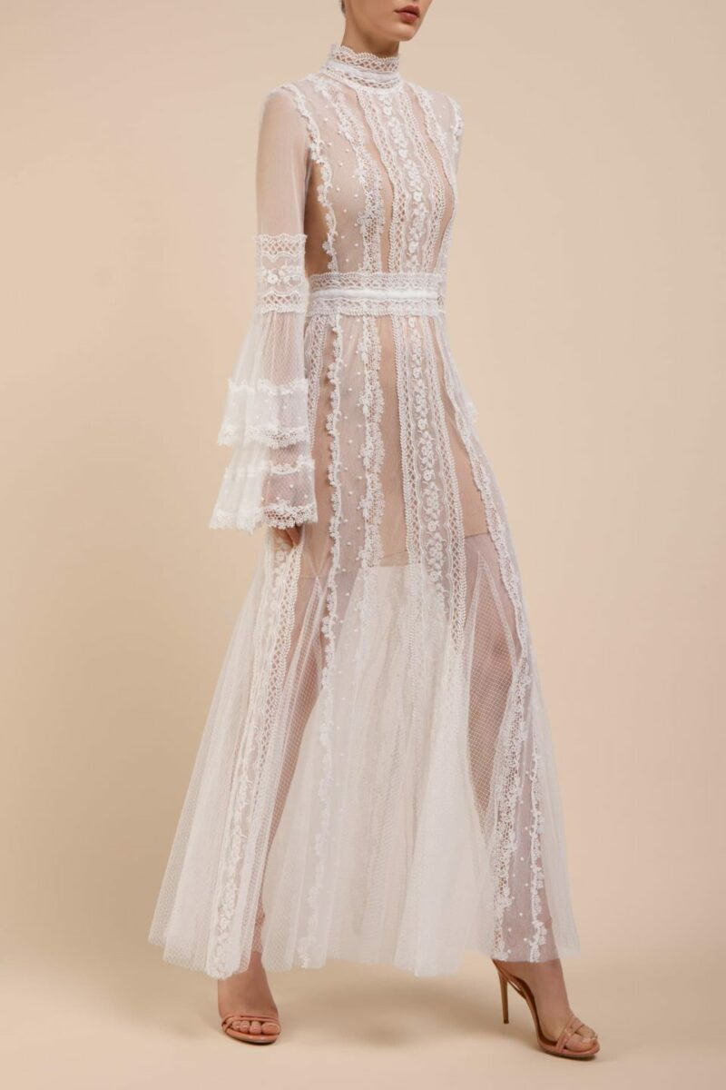 BC2102 Castalia floral embroidered french tulle boho bridal gown with inner mini dress and layered fluted sleeves