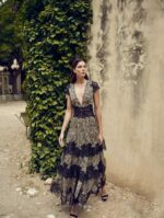 Daralisa PS2122 Tiger-Print Chiffon Tiered Dress with Gossamer Lace & Gold Threading