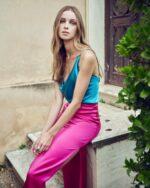Maralina PS2137 Satin Colorblock Sheath Dress with Surplice Bust