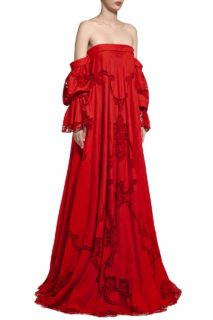 Marna PR2012 Red Linen Off-Shoulder Gown with Flounce Sleeves & Greek Traditional Reticella Lace Detail