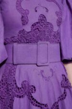 Alessie PR2013 Purple Linen Mock-Neck Gown with Puff Sleeves & Greek Traditional Reticella Lace Detail