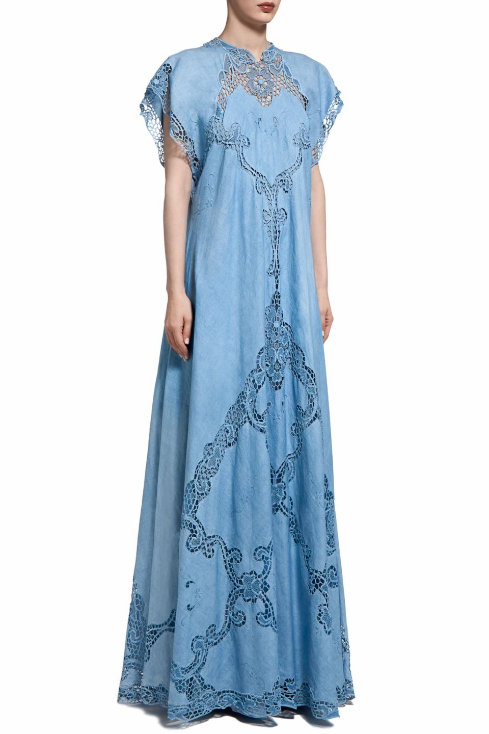 Alinna PR2014 Blue Linen Caftan Dress with Illusion Neckline & Greek Traditional Reticella Lace Detail