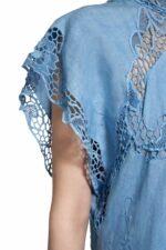 Alinna PR2014 Blue Linen Caftan Dress with Illusion Neckline & Greek Traditional Reticella Lace Detail