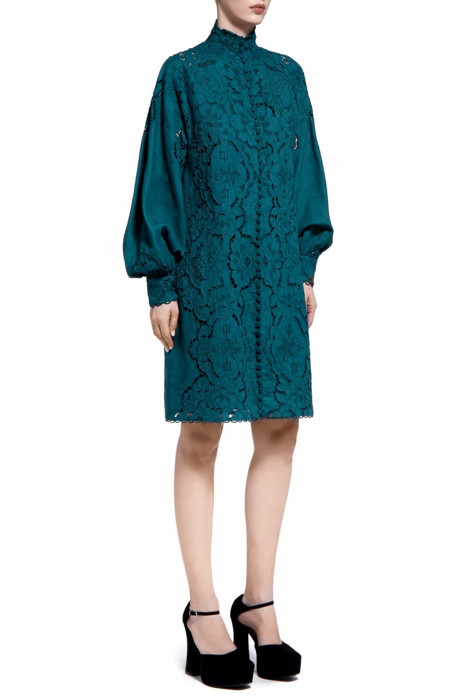 Ralice PR2015 Green Linen Button- Down Shirt Dress with Greek Traditional Reticella Lace Detail