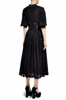 Runa PR2017 Black Cotton Buttoned- Bodice Midi Dress with Greek Embroidered Hand-Cut Lace Detail
